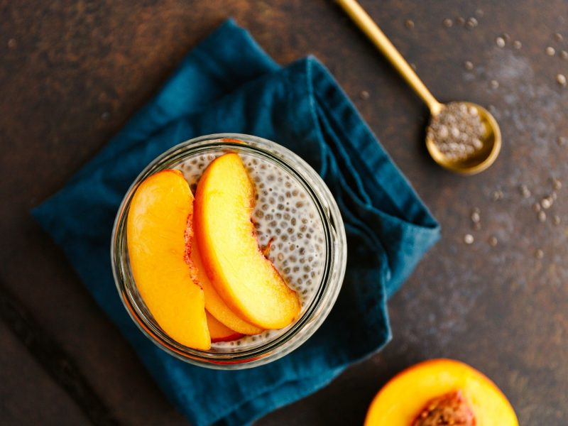 Portion healthy vegan chia pudding with almond milk